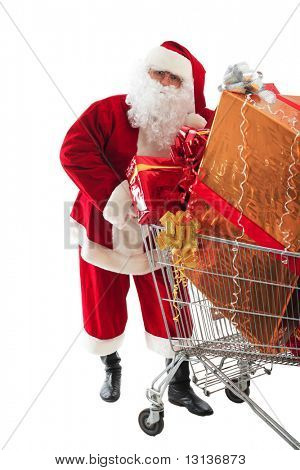 Xmas  background: Santa Claus, gifts,