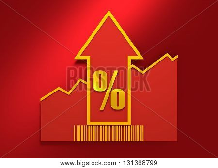 Percent sign and rise up arrow. Growth diagram and bar code. Relative for retail business. 3D rendering