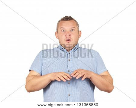 Fat Man  Feels Awkward, Anxiously Isolated On Background.