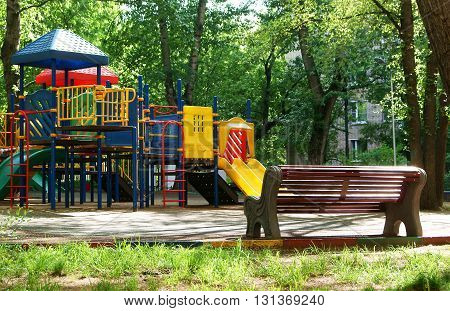 Children playing structure with slide at the playground