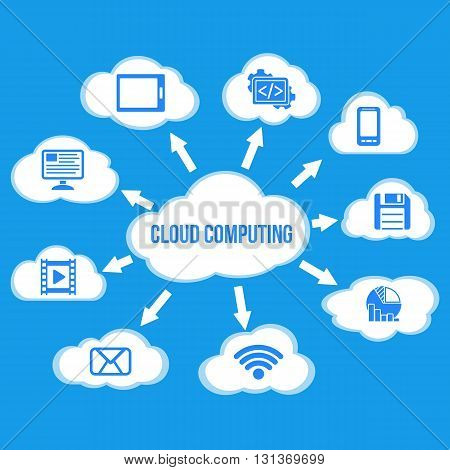 Cloud Computing concept background with a lot of clouds and icons flying on blue background. Cloud data flat vector illustration on blue background.