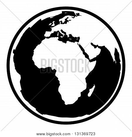 Globe earth vector icon. Earth planet globe web and mobile icon. Contour black symbol of earth planet in africa view. Black and white vector illustration.