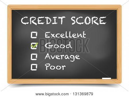 detailed illustration of checkboxes with Credit Score Rating Good on a blackboard, eps10 vector, gradient mesh included