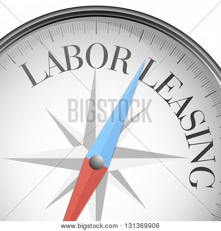 detailed illustration of a compass with labor leasing text, eps10 vector