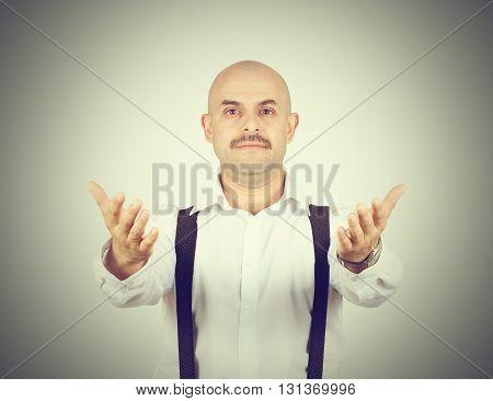 Handsome Bald Man Ready To Hug You,