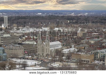 Ottawa, Canada - February 05, 2016: View From The Top Of The Tower At The Parliament Of Canada With