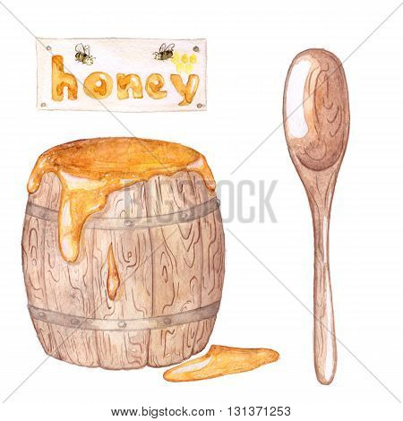 Set honey Barrel, honey, spoon, label. Watercolor painting. Isolated on white