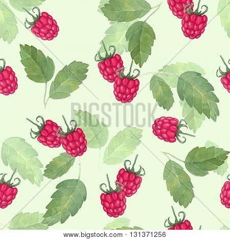 raspberries. Seamless pattern. Watercolor drawing. Handmade drawing.