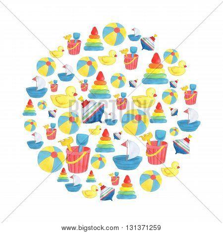 background, watercolor illustration, children's toys, design, duck, boat, spinning top, ball, pyramid, bucket, shovel, small rake