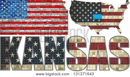 USA state of Kansas on a brick wall - Illustration, The flag of the state of Kansas on brick textured background,  Kansas Flag painted on brick wall, Font with the United States flag,  Kansas map on a brick wall