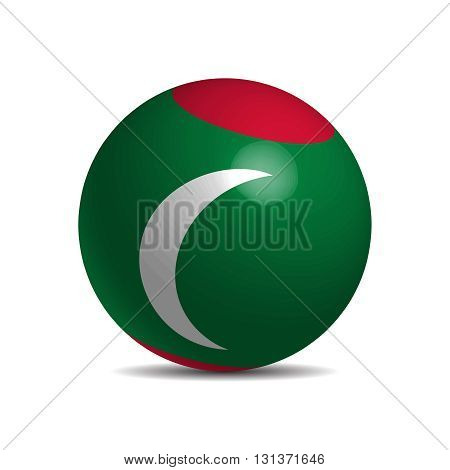 Maldives flag on a 3d ball with shadow, vector illustration