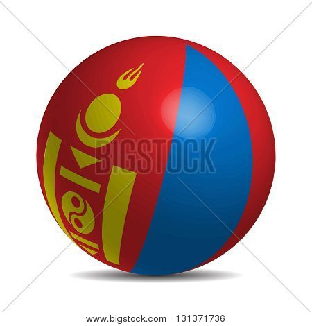 Mongolia flag on a 3d ball with shadow, vector illustration