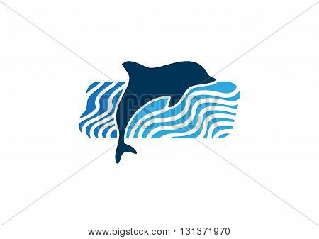 dolphin logo, dolphin jumping on blue waves water illustration vector design.