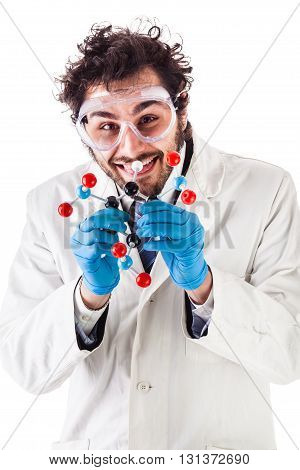Scientist With Tnt Molecular Structure