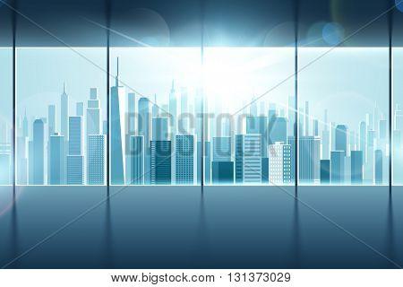 Big window with views of city