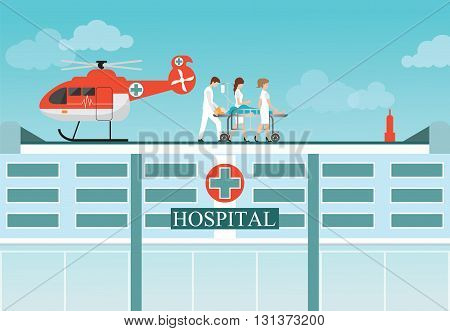 Medical emergency chopper helicopter with carry patient bed at the hospital buildingambulance helicopter vector illustration.