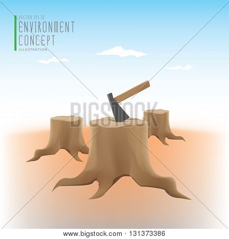 Illustration vector the environmental problems of deforestation many stump and axe.