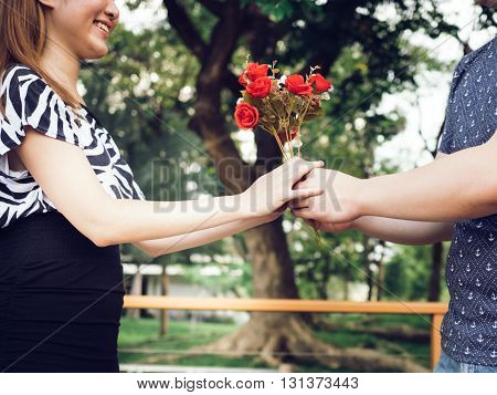 Boyfriend Offering His Girlfriend A Bunch Of Roses In The Park