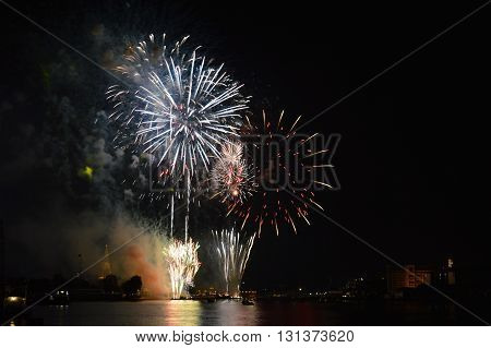 firework on new year countdown at temple of dawn in Thailand