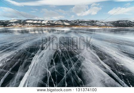 Ice Lake With Cracks.