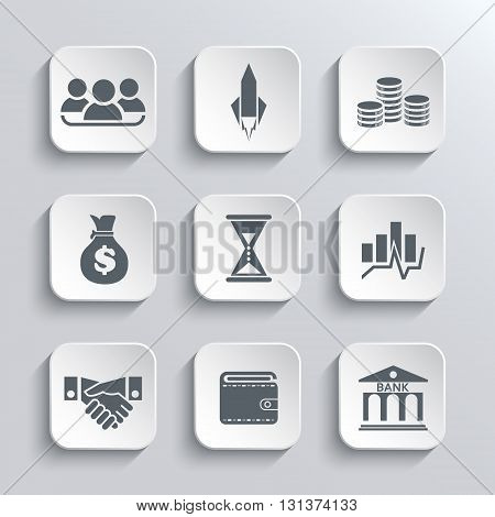 Startup business icon web icons set. Vector white app buttons design element with shadow. Trendy design template