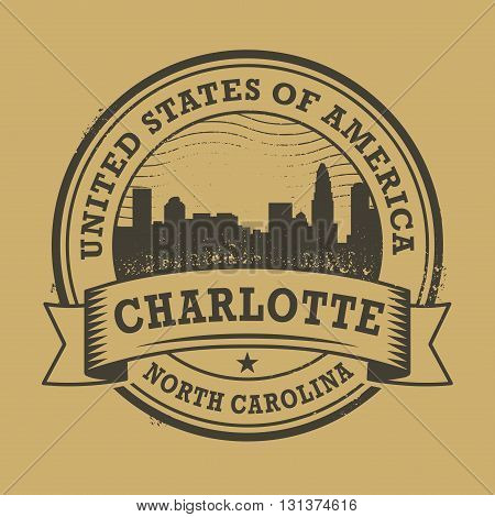 Grunge rubber stamp or label with name of Charlotte, North Carolina, vector illustration