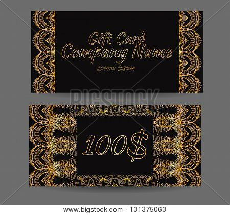 Template gift certificate for yoga studio a spa center massage parlor beauty salon. Abstract golden luxury pattern style jazz age
