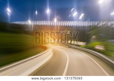 car moving fast in road