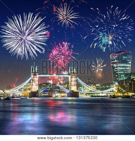 Fireworks display over the Tower Bridge in London, UK