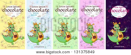 Collection of chocolate packaging with happy dragon on floral background. Childish design. Vector set.