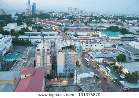 THAILAND PATTAYA - Nov 2 2015: Top view of Pattaya city in Pattaya Thailand.