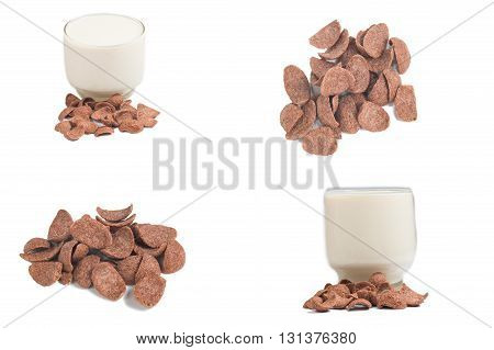 Chocolate cereal and glass of milk  isolated on a white background