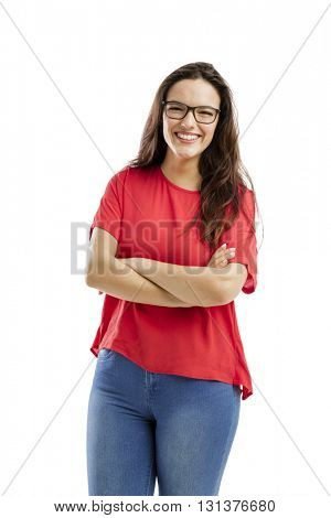 Lovely woman with arms folded and smiling