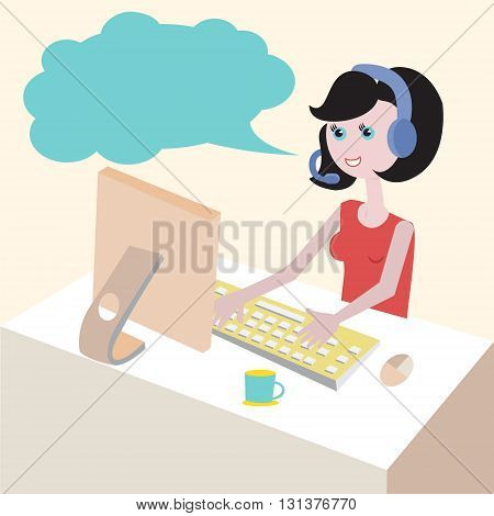 Technical support by phone woman with headset flat design illustration