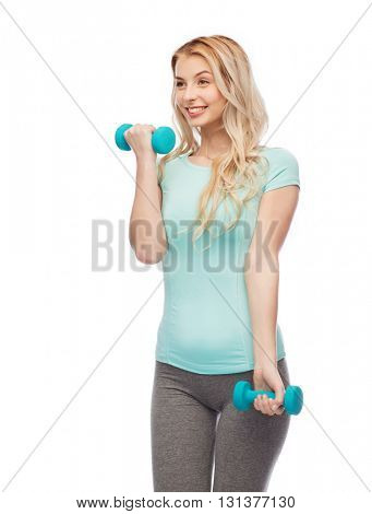 fitness, sport, exercising and people concept - smiling beautiful sporty woman with dumbbells