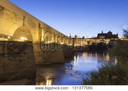 The Roman Bridge across Guadalquivir river at Cordoba, Spain, at night