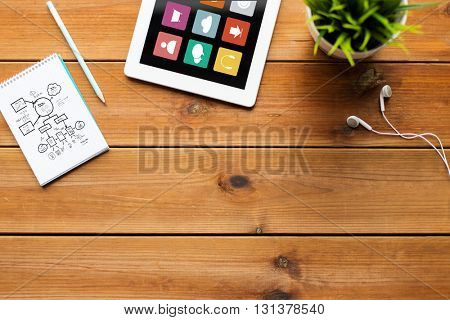 business, media and technology concept - close up of tablet pc computer with menu icons on screen, notebook with scheme, pencil and earphones on wooden table