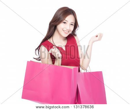 happy shopping young woman show bags - isolated on white background asian model beauty