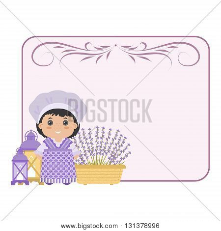 Photo frame in the style of Provence. Cartoon girl in national dress of Provence lavender. With space for your text or photos.