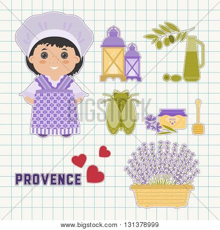 Vector set of design elements symbols Provence. Lavender Lavender oil cicada the national dress of Provence. Background in the cell. It could be used for greeting cards posters invitations.