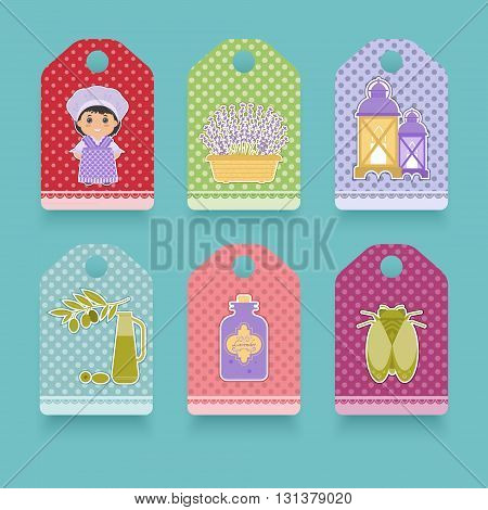 Set the label in the style of Provence. Cartoon girl in national dress of Provence lavender cicada olives. It can be used in packaging design.