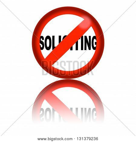 No Soliciting Sign 3D Rendering