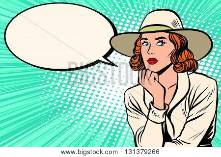 Retro lady thinks pop art retro vector. Pop art retro people. Pretty girl in wide-brimmed hat. Retro wide-brimmed hat