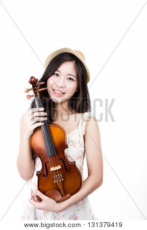 Asian woman with the violin over white background