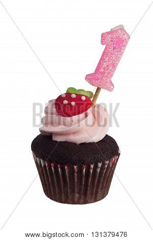 Mini cupcake with birthday candle for one year old isolated on white background