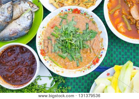 Fermented fish spicy dip (Nam Prik Pla-ra as Thai pronunciation) with fried fish Thailand style of food
