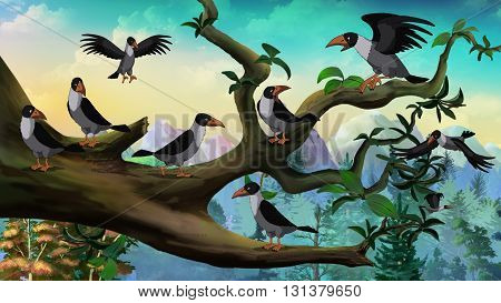 Hooded Crows on the branch. Digital painting full color illustration.