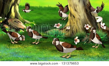 Flock of Sparrows Feeding in the Forest. Digital painting full color illustration.