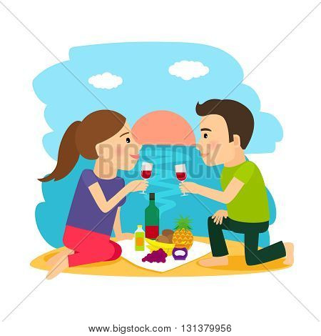 Beach summer. Young couple having dinner on beach at sunset background vector illustration