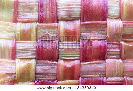 Horizontal foodpattern of latticed rhubarb strands background